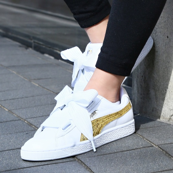 Puma Basket Heart White & Gold Glitter Sneakers